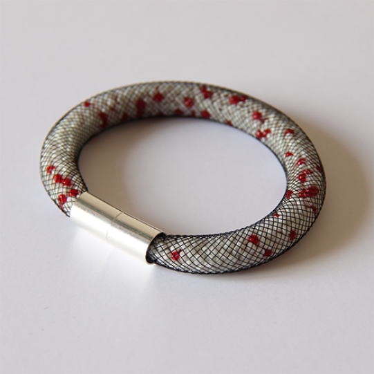 Pixel Bracelet (blanc taches rouges)